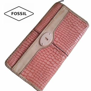Fossil Faux Croc Leather Wallet